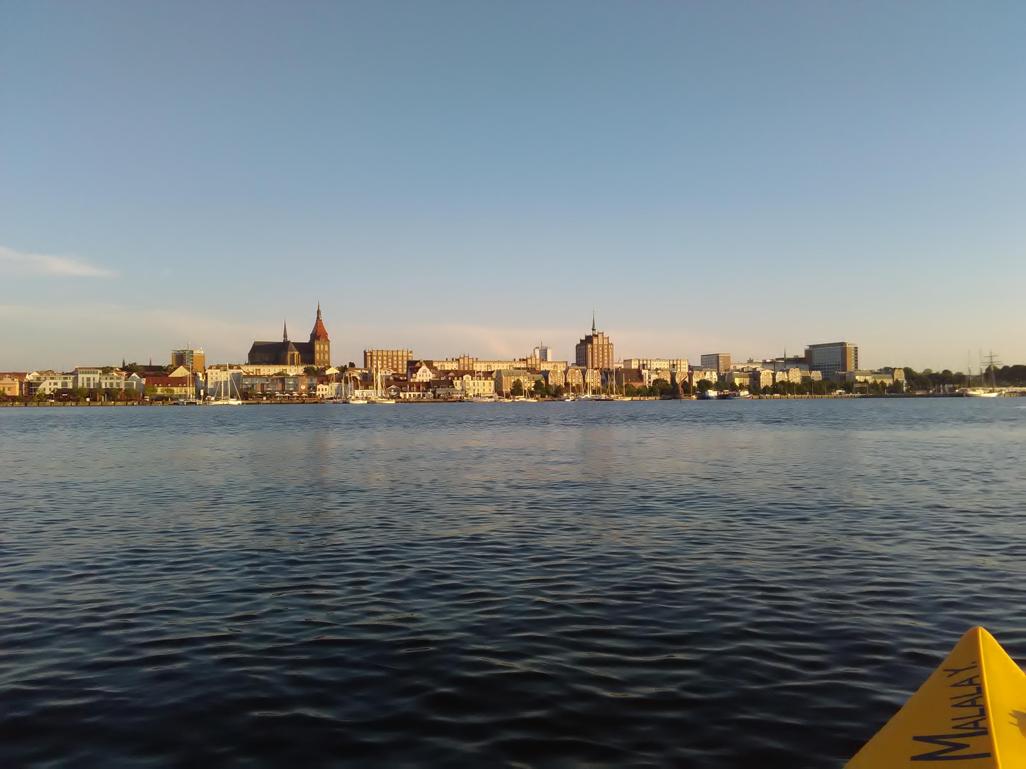 Het uitzicht van Richt tijdens haar kanotocht in Rostock.