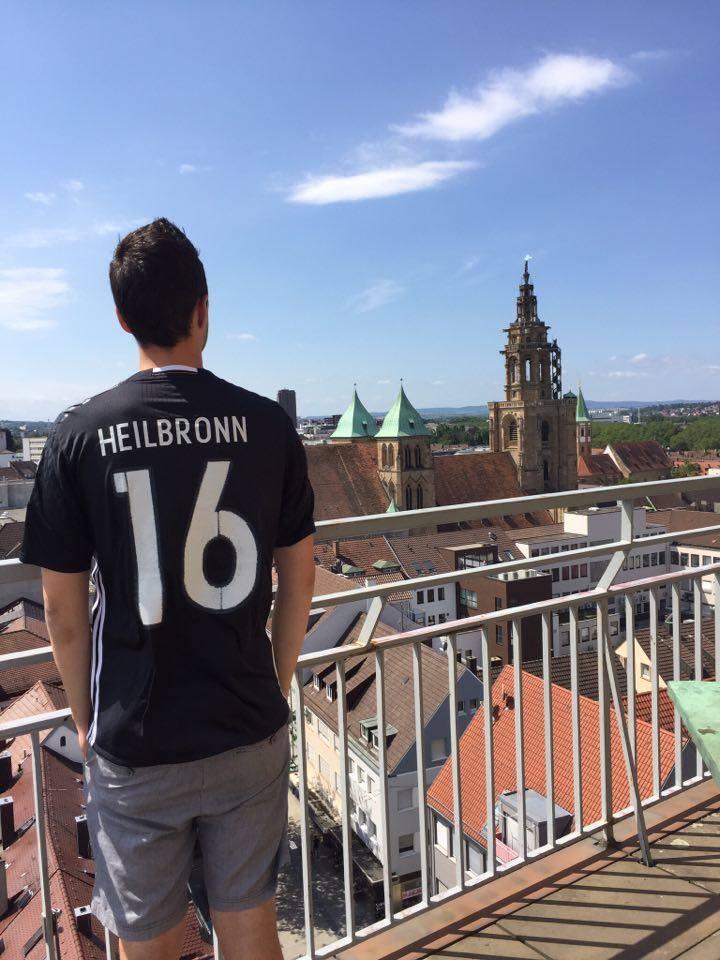 Uitzicht op de Haffenmarktturm in Heilbronn.
